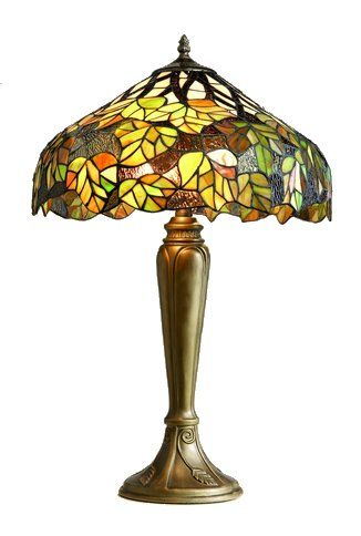 Lovely 16 Inch Tiffany Table lamp with a glass shade in a Green Maple Leaf design                                                                                                                                                                                 Más