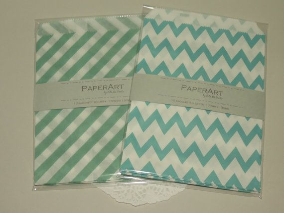 10 sacchetti di carta 17x13cm colore verde acqua di PaperArtItalia