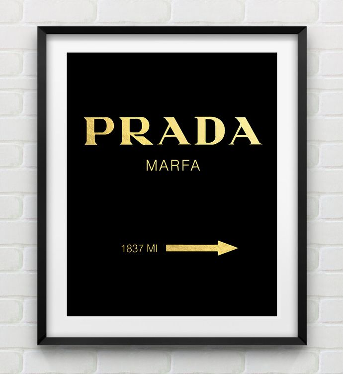 prada marfa black gold foil art print illustration. Black Bedroom Furniture Sets. Home Design Ideas