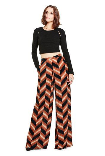 Abstrakte Palazzo-Hose mit Chevron-Muster