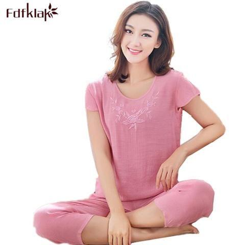 52d6447514 XL XXL 3XL Summer New Women Pyjamas Plus Size Sleepwear Set Short Sleeve  Pajamas For Women Pijama Sets Cotton Linen Pijamas Q525