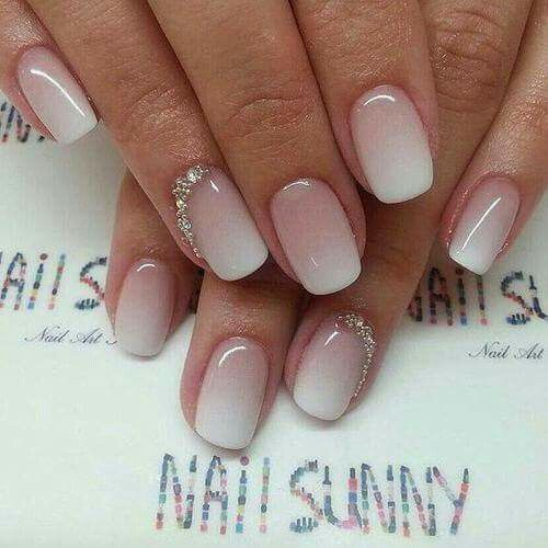 Ombre nails,short nails,white tip,degradado,uñas,punta blanca