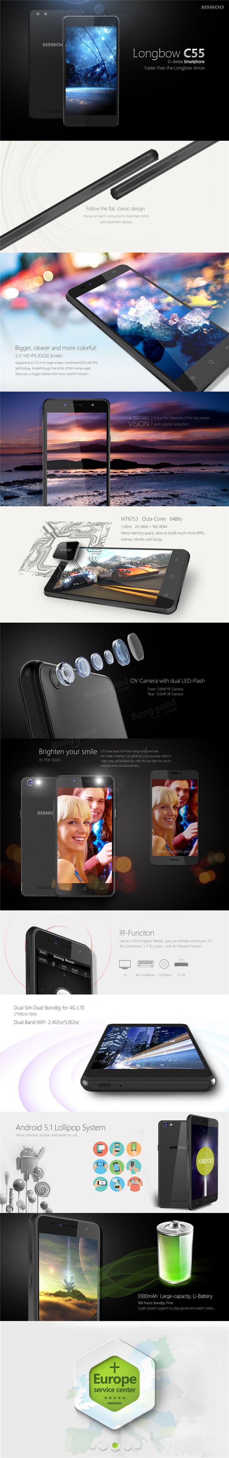 SISWOO C55 5.5 Inch 2GB RAM MTK6753 64bit 1.3GHz Octa-core Smartphone Sale-Banggood.com