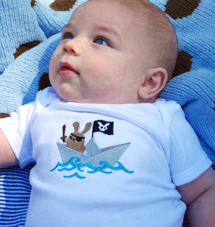 //Pirate bunny embroidered baby onesie/bodysuit made to order. $15.00, via Etsy.