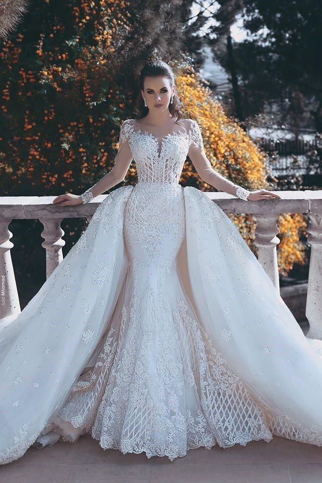 Gorgeous Long Sleeve Detachable Train White Lace Wedding Dress_Wedding Dresses 2…