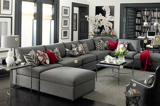 Grey couches   red accents = love!