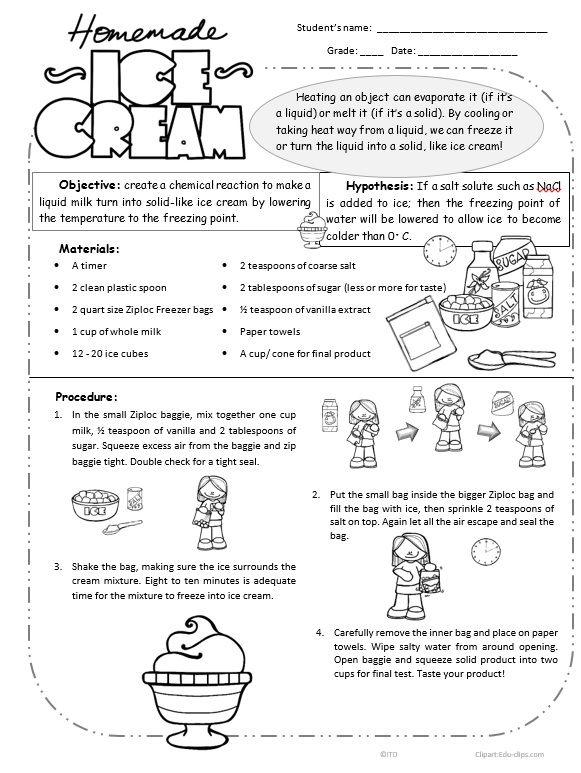 Ice Cream Lab Worksheet