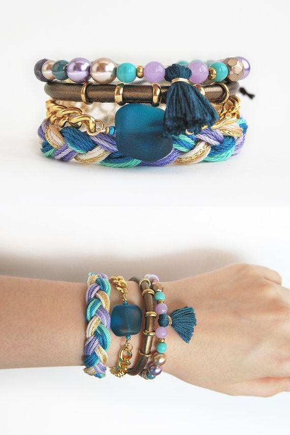 So bohemian! Bracelet stack in violet and turquoise, bracelet set, boho chic, hippie bracelets by LeiniJewelry