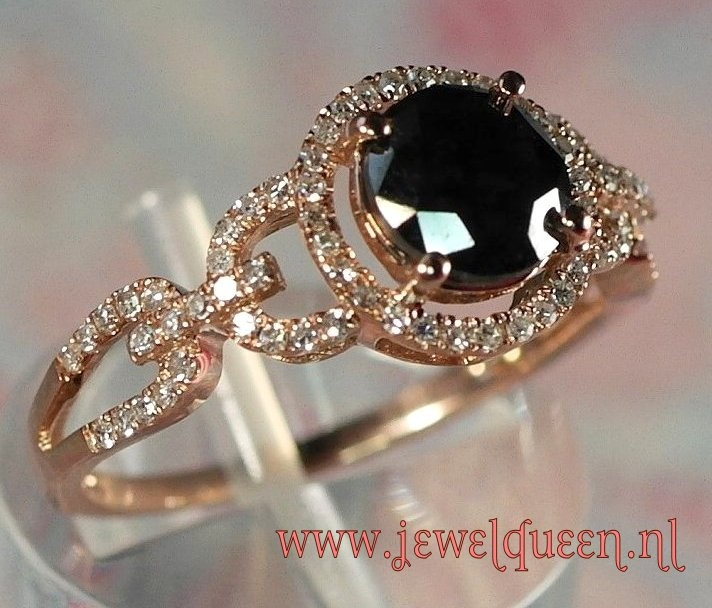 14 K ROSE GOLD RING, ANTIQUE LOOK, DIAMONDS                                WWW JEWELQUEEN NL