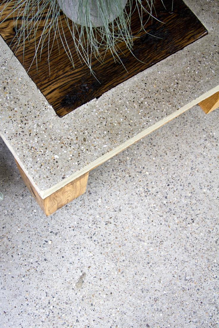 Elegant firepit with unpolished panel of oak wood using ornamental - Made Of Polished Concrete