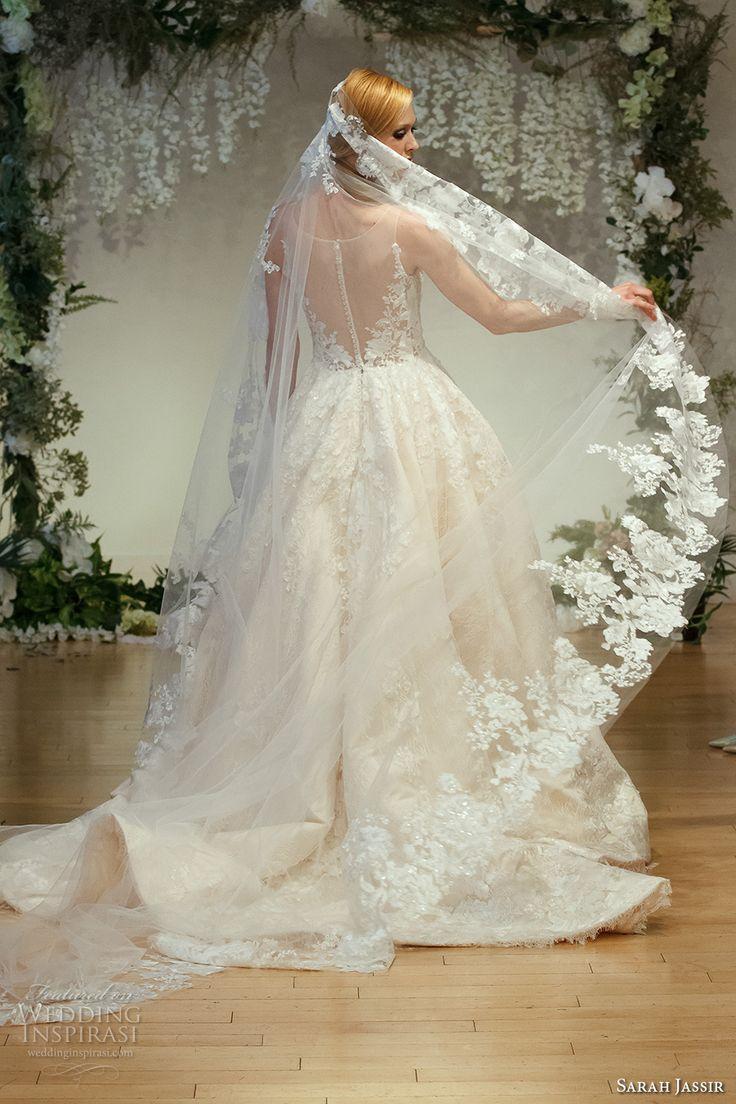2017 sans manches de mariée l'illusion de sarah cou décolleté amie princesse corsage fortement embelli robe boule ronde une pure robe de mariée de la ligne arrière train chapelle (15) bv