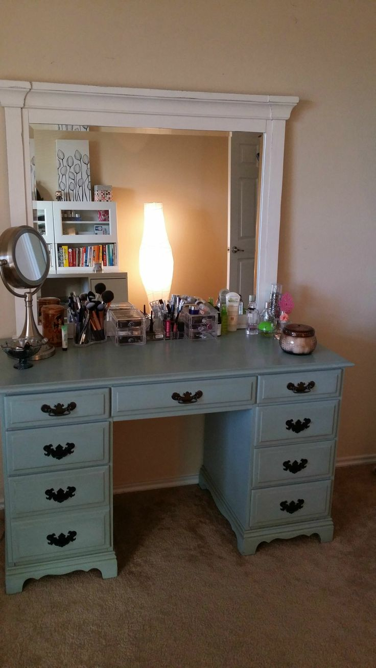 Convert Executive Desk Into Vanity Furniture Makeover
