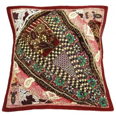 """Handmade Maroon Cushion Cover Embroidered Patchwork Pillow Case Throw India 17"""""""