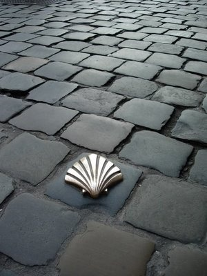 The scallop shell is a path marker along the way.