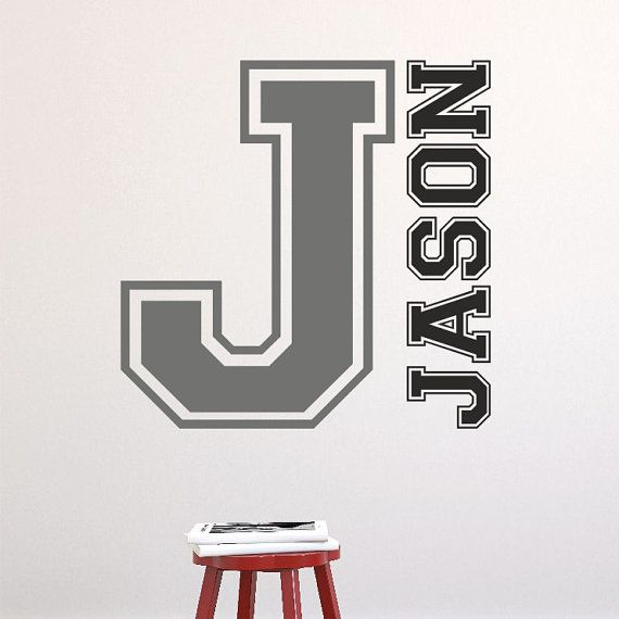 Personalised VARSITY STYLE INITIAL college name by TopWallStickers