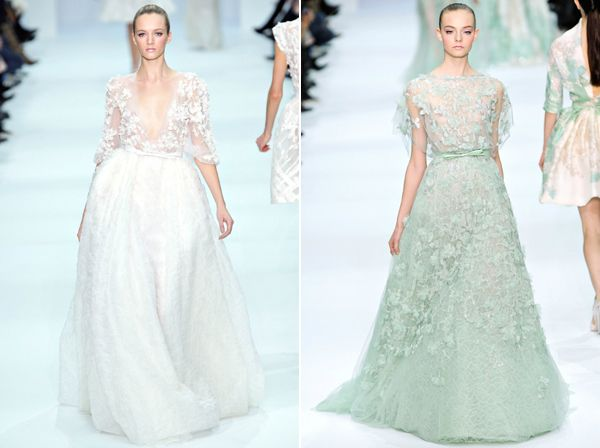 """I'm not crazy enough to have a """"DREAM WEDDING!!"""" board but I AM crazy enough to have a dream wedding dress, which would be that mint green Elie Saab number"""