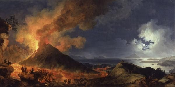 An Eruption of Vesuvius by Moonlight ; Artist: Pierre-Jacques Volaire ; Year: 1774