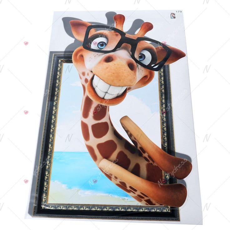 3D Cute Giraffe Removable Wall Sticker Creative Gift - COLORMIX