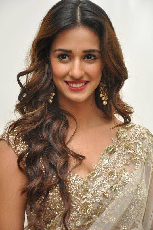 Actress Disha Patani stills in embroidery net saree