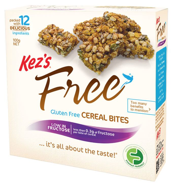 Eating on the run is never easy – especially when your diet excludes gluten. Check out Kez's Free Gluten Free Cereal Snacks with the FODMAP Friendly logo
