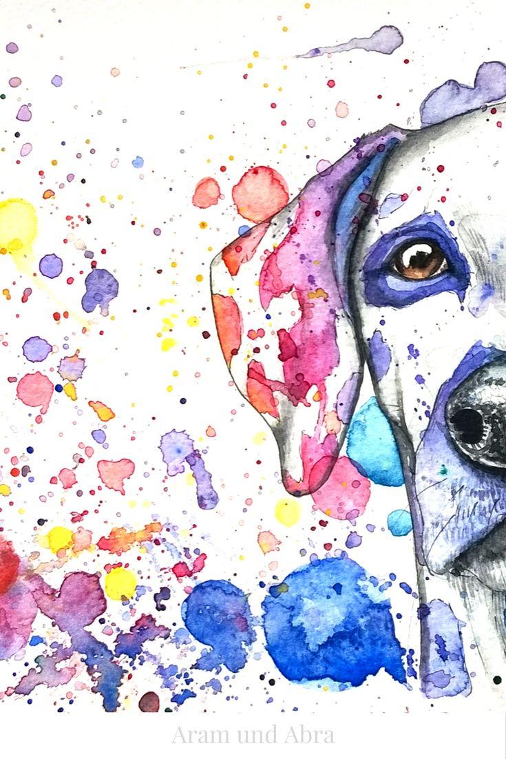Tierportrait/Zeichnung Hund (Dalmatiner). Aquarell auf Zeichenpapier. Von Aram und Abra.