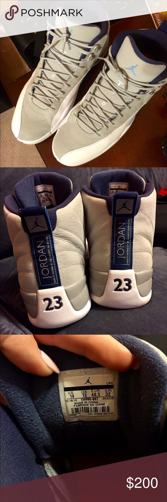 Jordan Retro 12's -- Size 14! Authentic men's Jordan Retro 12's in a size 14. Hard size to find! Only worn once, in great shape. Wolf grey/university blue/white in color. No damage or wear and tear at all! 😊 Jordan Shoes Sneakers