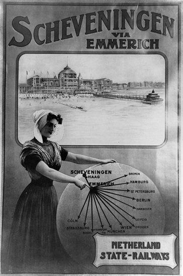 Afbeelding van een affiche van de N.S. voor treinverbindingen vanuit diverse Europese steden naar Scheveningen, via Emmerich, met een vrouw in klederdracht en het Kurhaus met pier te Scheveningen.