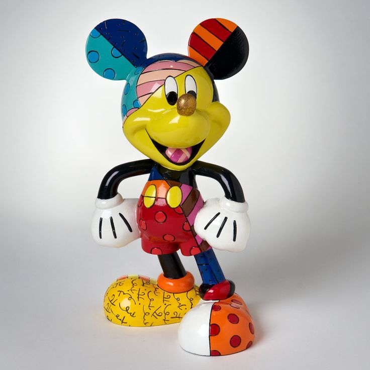 Title: 8 inch Mickey by Britto Introduction: June 2010 Item Number: 4019372 Material: Stone Resin Dimensions: 8 in H x 4.75 in W x 5.25 in L Weight: 1.80 lb Disney by Britto captures the fun and whims