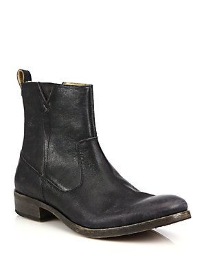 John Varvatos Star USA Followill Leather Zip Ankle Boots