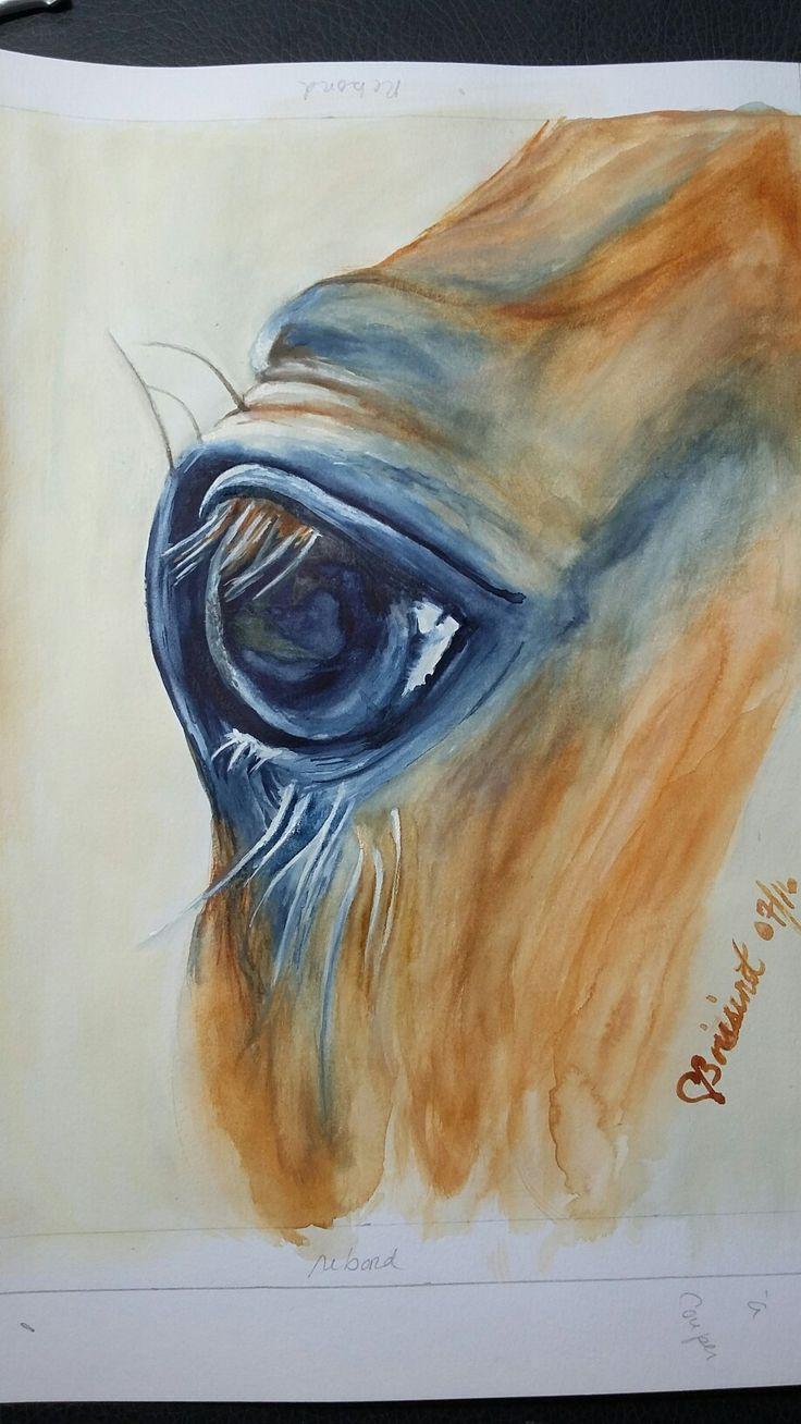 Reproduction Aquarelle watercolor ''L'oeil perçant du cheval'' 11 x 14po, Fait par Chantal Boissinot. (MA)