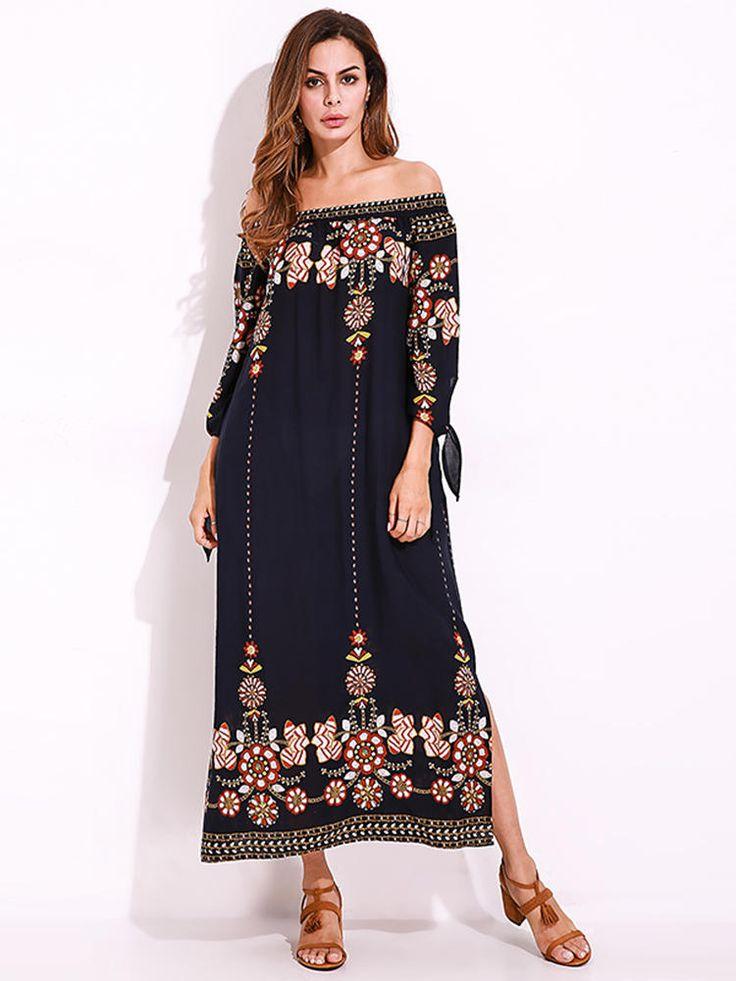 Plus Size Sexy Women Floral Printed Tie Sleeve Dress at Banggood  #women #fashion