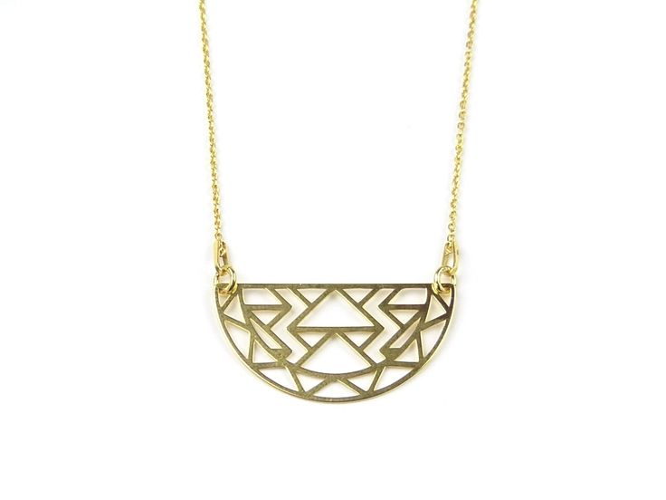 Gold plated necklace Aztec. Geometric necklace. #AztecNecklace #TanatJewelry #geometricnecklace
