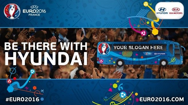 Write a slogan to appear on your team's official bus at UEFA EURO 2016 and you could win tickets for a finals match and other great prizes; Be There With Hyundai! Source: Get on the bus for EURO 20...