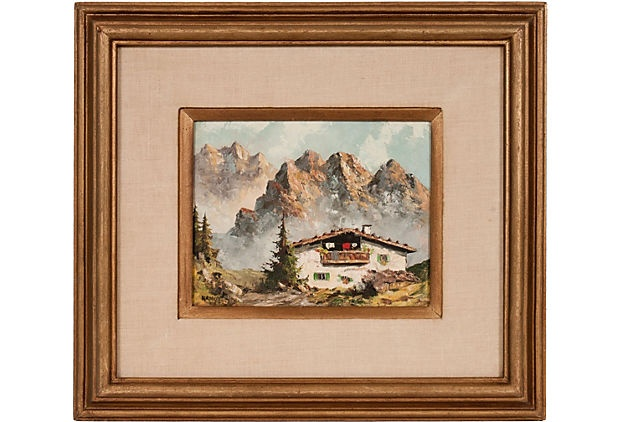 1940s oil painting of the Swiss Alps by artist Paul Wesley Arndt. Displayed n a restored midcentury frame with a linen matte.