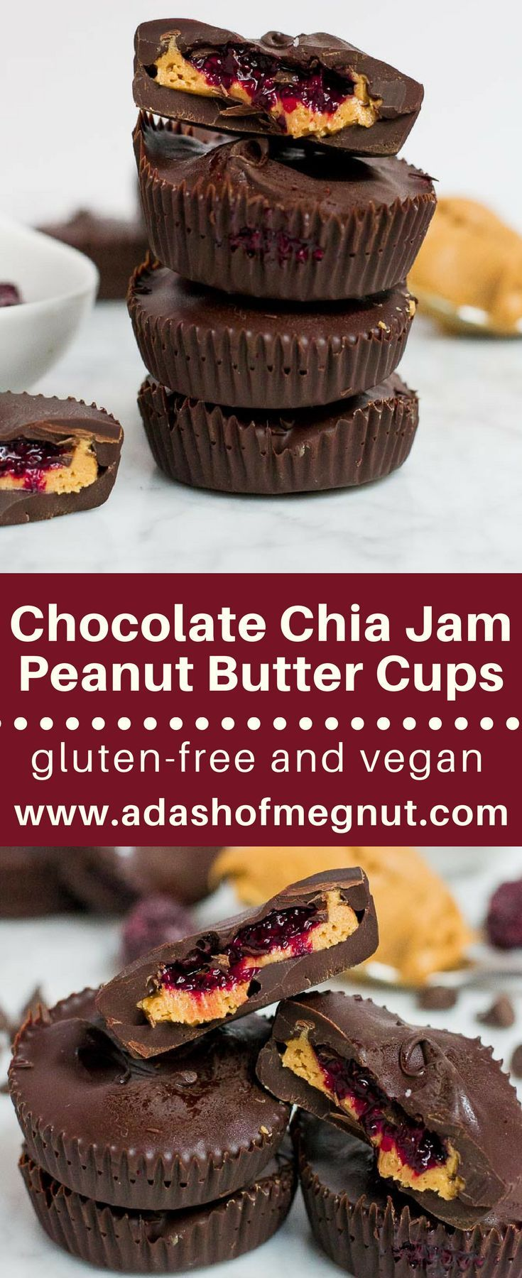 Is there anything better than biting into a chocolate peanut butter cup filled with a luscious mixed berry chia jam? I think not! This quick and easy no-bake dessert comes together with simple ingredients and is ready in under an hour. There is minimal preparation time needed which makes this chocolate chia jam peanut butter cup recipe a favorite for entertaining! It's gluten-free, dairy-free and vegan. #nobake #glutenfree #dairyfree #vegan via @adashofmegnut