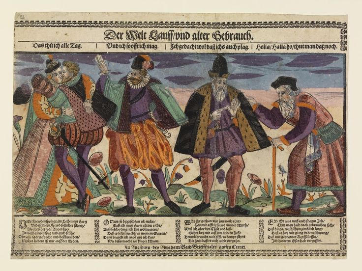 """Abraham Bach's mid17C Four Sexual Ages of Man entitled """"Der Welt Lauff vnd alter Gebrauch"""" [The way of the world and ancient custom] -- coloured impression in the GNM and I suggest adjacent print in the Rijksmus coll is merely the woodcut cut from this sheet"""