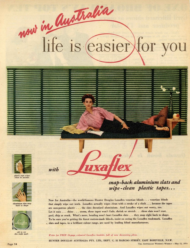 Luxaflex ad From The Australian Women's Weekly - May 12, 1954