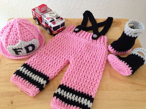 Crochet Patterns For Baby Frocks : ORIGINAL DESIGN Baby Girl Firefighter Fireman Crochet Hat ...