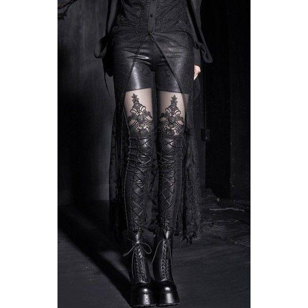 Punk Rave Macbeth Leggings ❤ liked on Polyvore featuring pants, leggings, macbeth, embroidered leggings, see through leggings, sheer pants and embroidered pants