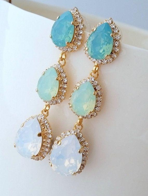 Mint and white opal LONG Chandelier earrings by EldorTinaJewelry | Mint wedding | mint bridal earrings | http://etsy.me/1Ji7OFT