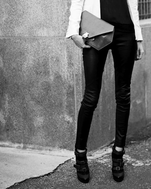 hexagon clutch & strap boots.: White Blazers, All Black, Fashion Style, Clothing, Street Style, White Jackets, Style Icons, Black White, Pink Clutch