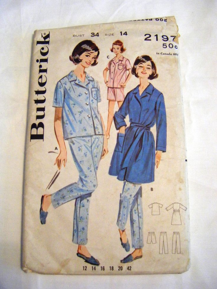 Vintage sewing pattern - actual 1950s sewing pattern, not a reproduction. Misses pajama and robe: Tailored pajamas with notched collar, set