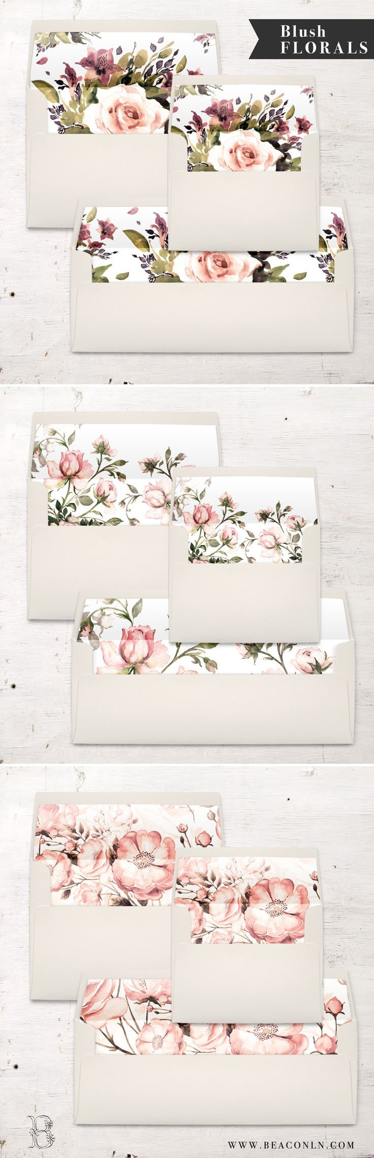 Blush Floral Envelope Liners By Beacon Lane. New for 2017!