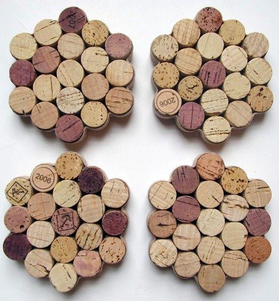 Wabe Weinkorken Untersetzer mit Khaki Ribbon  Set 4