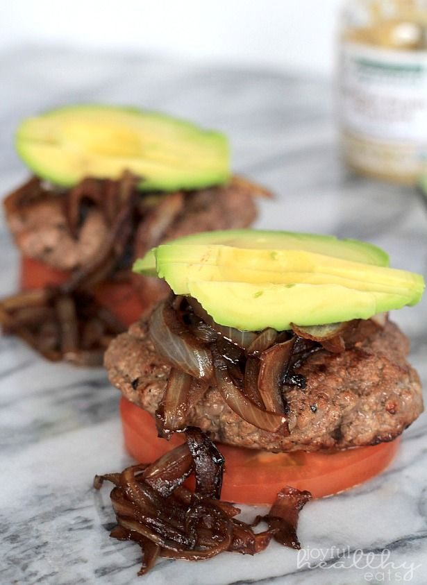 Paleo (Bunless) Burgers with Caramelized Balsamic Onions & Avocado recipe #food #paleo #glutenfree