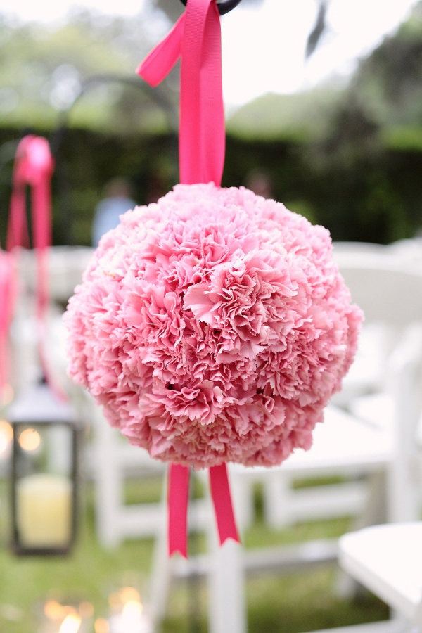 Pink Pomanders ~ or Kissing Balls! Photography by kristinviningphotoblog.com, Wedding Planning & Floral Design by holidayhouseweddings.com