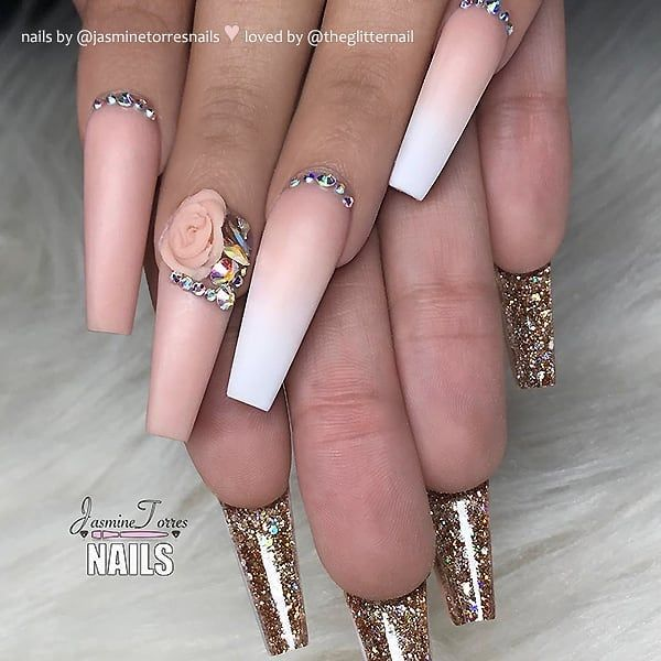 Repost Salmon Pink And Glitter On Coffin Nails Picture And Nail Design By N Coffin Nails Long Nail Designs Bling Red Bottom Nails