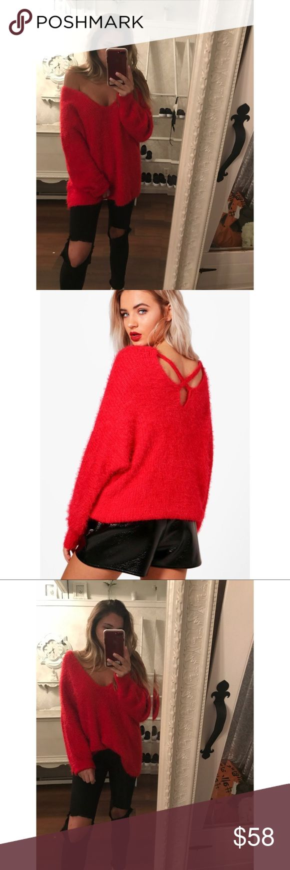 """🍂NEW🍂Valentine knit Gorgeously soft and oversized in a vibrant red color, this is about to be your favorite new sweater for this season. It's oversized fit is perfect for layering underneath a leather jacket or tying it up for a cropped look! •Modeling a size Small (5'6"""" 135 lbs) •Runs large* size down* •Nylon/Acrylic •Ships approx 4 days after order Sweaters V-Necks"""