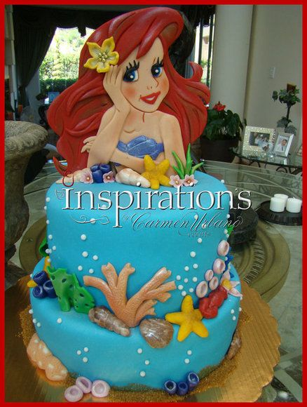The little mermaid cake by inspiration by carmen urbano for Ariel cake decoration
