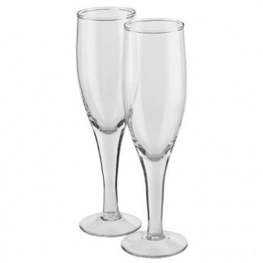 Valentine's Day 2 Pack Glass Champagne Flutes